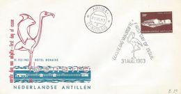 Netherlands Antilles 1963 Aruba Opening Hotel Bonaire Flamingo FDC Cover - Hotels- Horeca
