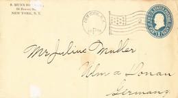 New York City 1898, Brief Nach Ulm - 1847-99 Unionsausgaben