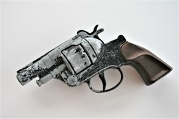 Vintage TOY GUN : GONHER - L=16cm - 19??s - Made In Spain - Keywords : Cap Gun - Cork Gun - Rifle - Revolver - Pistol - Armes Neutralisées
