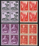 **LA SERIE BLOCS DE 4 TIMBRES NEUFS 1958 C/DES TIMBRES SUISSES Nr:339/342. Y&TELLIER Nr:612/615. MICHEL Nr:683/686.** - Switzerland