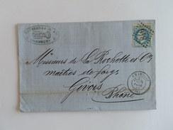 EMPIRE LAURE 29 SUR LETTRE DE CHAMBERY A GIVORS DU 18 FEVRIER 1869 (GROS CHIFFRE 846) - Marcophilie (Lettres)