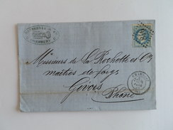 EMPIRE LAURE 29 SUR LETTRE DE CHAMBERY A GIVORS DU 18 FEVRIER 1869 (GROS CHIFFRE 846) - Postmark Collection (Covers)