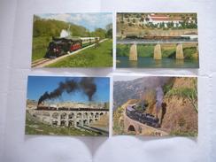 LOCOMOTIVE à VAPEUR : JORDANIE, ERYTHREE, PORTUGAL Et SUISSE  LOT De 4 CPM. Détails  2ème Scan - Trains
