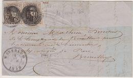 Belgique N°10Ax2 10c Oblitération D58 LETTRE De WATERLOO Vers BRUXELLES Pour Marges Voir Scans Manque La Paire De Droite - 1858-1862 Médaillons (9/12)
