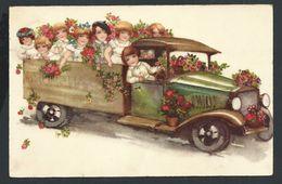 +++ CPA - Carte Fantaisie - Enfants - Auto - Voiture Ancêtre - Car - Fleur- Camion - 1938 - HWB 5432   // - Other