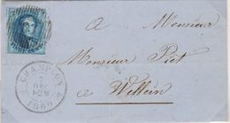 Belgique N°11A 20c Oblitération D61 LETTRE De CHAMPLON Vers WELLIN Pour Marges Voir Scans TRES RARE - 1858-1862 Medaglioni (9/12)