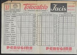 SCHEDINA TOTOCALCIO CONCORSO 37 DEL 04.08.1961 - Non Classificati