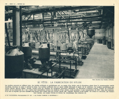 Ancienne Photo, Métiers (1955): La Fabrication Du Nylon, Usine, Textile Synthétique, Atelier De Polymérisation, Monorail - Oude Documenten