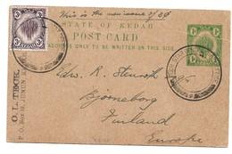 (P74) - KEDAH - UPRATED POSTCARD ALOR STAR => FINLAND 1920 - Kedah
