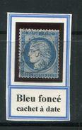 FRANCE- Y&T N°60C- Bleu Foncé, Cachet à Date - 1871-1875 Ceres