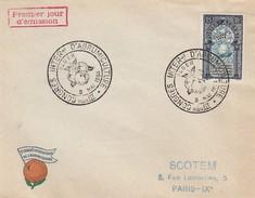 FRANCE- FDC ALGERIE - IIIe CONGRES INTERNATIONAL D'AGRUMICULTURE - ALGER 8 MAI 1954 /4 - FDC