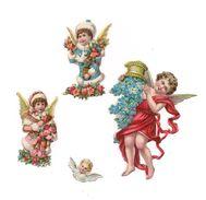 4    DECOUPIS    GAUFFRES  ANGELOTS   FLEURS - - Anges