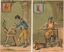 Lot / Série  De 2 Chromos CHOCOLAT GUERIN BOUTRON  Métier Enseigne Le Rémouleur Le Savetier  ( Recto Verso ) - Guérin-Boutron
