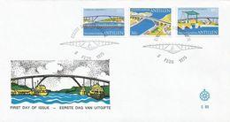 Netherlands Antilles 1975 Curacao Bridge Queen Emma Wilhelmina Juliana FDC Cover - Bruggen