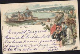 CPA Souvenir De Nice Style Gruss Dames Carte Postale Précurseur - Lots, Séries, Collections