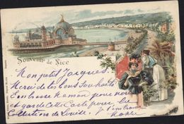 CPA Souvenir De Nice Style Gruss Dames Carte Postale Précurseur - Nice