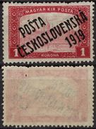 "Parliament 1 K - 1919 Czechoslovakia Tschechoslowakei ""Posta Ceskoslovenska 1919"" Overprint Occupation Hungary - MH - Cecoslovacchia"