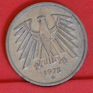 GERMANY FEDERAL REPUBLIC 5 MARKS 1975 D -    KM# 140,1 - (Nº19282) - [ 7] 1949-… : FRG - Fed. Rep. Germany