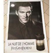 GRANDE AFFICHE PARFUM LA NUIT DE L' HOMME YSL Avec VINCENT CASSEL - Publicité