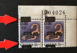Ghana 1988 Triangle On Top And Bottom Corner Pair - Ghana (1957-...)