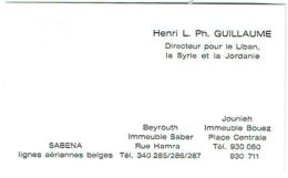 Carte Visite. Sabena. Beyrouth/Jounieh. Guillaume, Directeur Pour Liban/Syrie Et Jordanie. - Visiting Cards