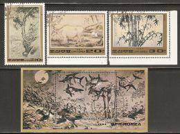 1984 Mi# 2499-2501, Block 184 Used - 18th Century Korean Paintings - Korea, North