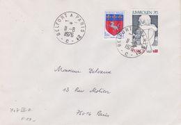 Lettre 1976 Oblitération Type Plastique Ambulant BELFORT A PARIS 2° Brigade C Sur Blason St Lo - Poste Ferroviaire