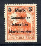 MARIENWERDER 1920 (9 May) Surcharge 5 Mk./ 7½ Pf. Type B I A I, LHM / *.  Michel 25 B I A I Cat. €45 - Duitsland