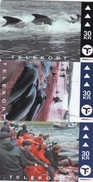 Faroe Islands, OD-030 - 32, Set Of 3 Cards, Pilot Whales, 2 Scans. - Faroe Islands