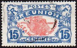 Réunion Obl. N° 109 - Réunion - Carte De L'ile - 15 C Rouge Et Bleu - Réunion (1852-1975)