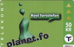 Faroe Islands, OR-003, 50 Kr ,  Planet.fo, Kool Fartelefon, 2 Scans. - Faroe Islands