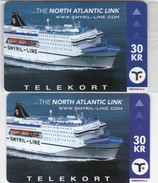 Faroe Islands, ORD-001 And 001x , Overprinted And Not Overprinted, The North Atlantic Link. Cruise Ship, 2 Scans. - Faroe Islands