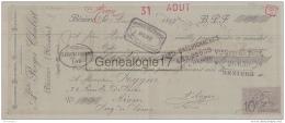 34 1497 BEZIERS HERAULT 1897 HORLOGERIE Bijouterie A. ROGER CHABERT Tampon RAMEL BRECHIGNAC Et GUSTAVE THEL - Bills Of Exchange