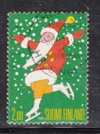 Finland 1995 Used Scott #979 2m Santa On Skates - Christmas - Noël