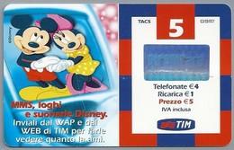 IT:.- RICARICARD. MMS,loghi E Suonerie Disney. TIM. Inviali Dal WAP E Dal WEB Di TIM Per Farle Vedere Quanto .. 2 Scans. - Disney