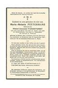 749. MARIA-MALANIA PEETERMANS Wed. P. Vandevorst - °BORLOO 1874 / +BRUSTEM 1937 - Imágenes Religiosas