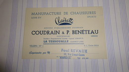 Carte De Représentant Manufacture De Chaussures Clairette COUDRAIN & BENETEAU La Tessoualle (49) - Cholet