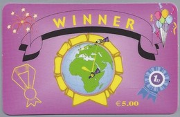 IT:.- WINNER € 5,00. WORLDWIDE PHONECARD.. 2 Scans. - GSM-Kaarten, Aanvulling & Voorafbetaald