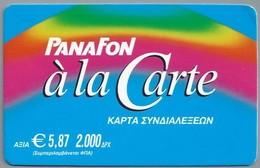 EL:.- PANAFON à La Carte.  € 5,87. WORLDWIDE PHONECARD. VODAFONE. 2 Scans. - Griekenland