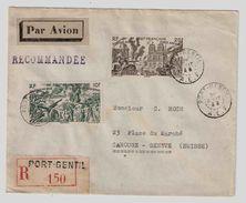 AFRIQUE EQUATORIALE FRANCAISE PORT-GENTIL 1946 DU TCHAD AU RHIN Poste Aérienne Lettre Recommandée  Pour Suisse - A.E.F. (1936-1958)
