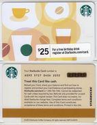 Starbucks - USA - 2012 - CN 6093 Coffee Bean 25$ - Gift Cards