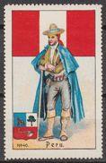PERU National Costume  / Folk Art / Flag / Coat Of Arms - Cinderella / Label / Vignette - MH - Peru