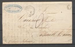 1848 SEINE INFre Lettre CAD T15 BACQUEVILLE + BOITE RURALE C GUEURES X3188 - 1849-1876: Période Classique