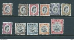 Grenada 1953 QEII Definitive Part Set Of 11 To $2.40 Ship  MNH - Grenada (...-1974)