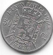 Belguim 50 Centimes  Leopold  II  1886 French  Fr+ - 1865-1909: Leopold II