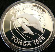 Tonga 2 P 1986 Whale Silver Proof - Tonga