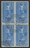 1950 Italia Italy Repubblica 55 Lire UNESCO In Quartina Usata U.N.E.S.C.O. Bl.4 - UNESCO