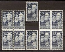 1950 Italia Italy Repubblica LANIERI 10 Serie MNH**: 2 Quartine + 2 - Tessili