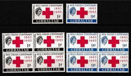 1963 Gibilterra Gibraltar CROCE ROSSA  RED CROSS 5 Serie Di 2v. (160/161) MNH** In Quartina + 1 - Gibilterra
