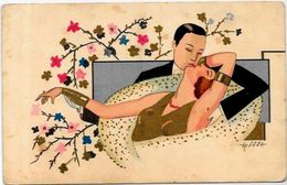 CPA Art Déco Femme Girl Woman Circulé Type Meschini - Illustrateurs & Photographes